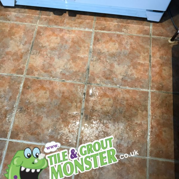 dirty ceramic kitchen tiles dirty floor grout - restored GROUT MONSTER