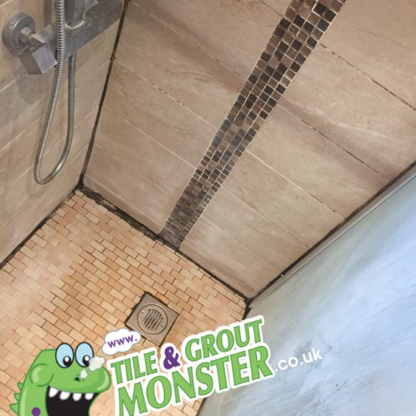 mouldy silicone in a marble shower - grout monster restoration