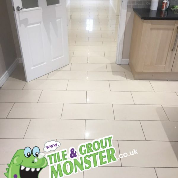 dirty grout on a polished porcelain floor, grout monster belfast