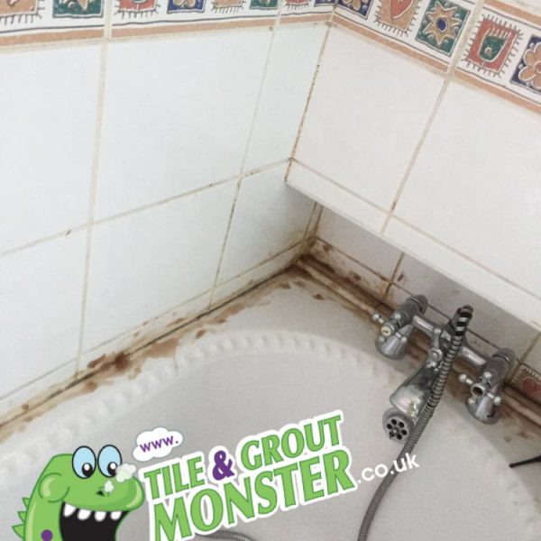 dirty mouldy silicone removed and replaced, tile and grout monster , LISBURN NORTHERN IRELAND