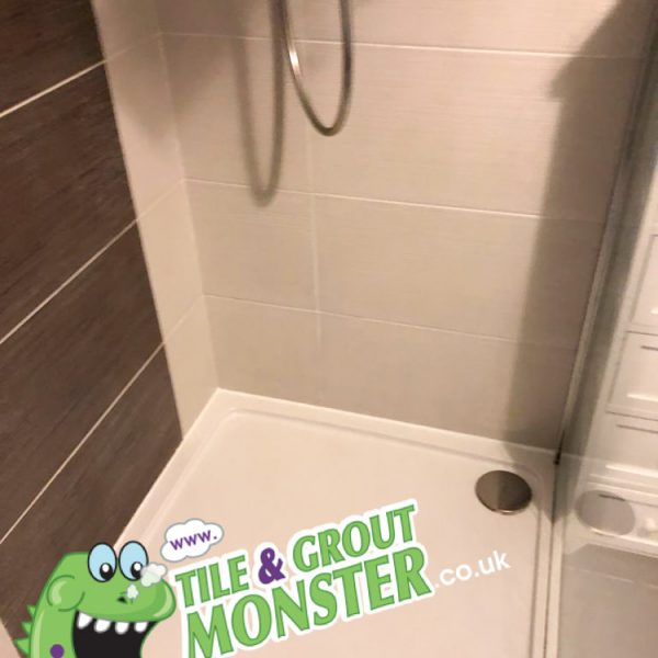 Carrickfergus shower cleaner tile and grout monster , new silicone seal replaced