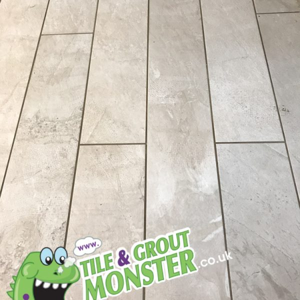 wood effect porcelain floor deep cleaned, dirty grout cleaned, tile and grout monster Newtownabbey