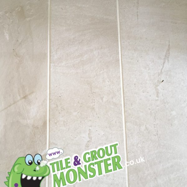 wooden effect porcelain floor, dirty grout cleaned to new, tile and grout monster Newtownabbey